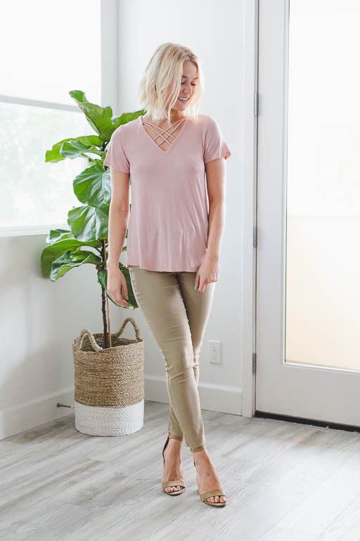 Double Crossed Top in Blossom Pink