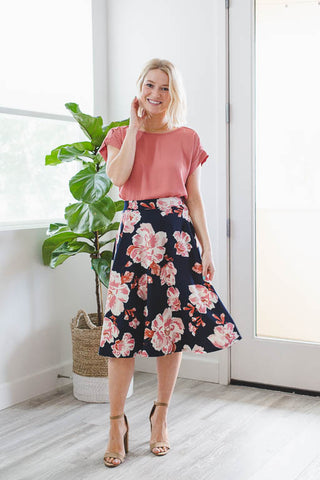 Divinity A-Line Skirt in Navy