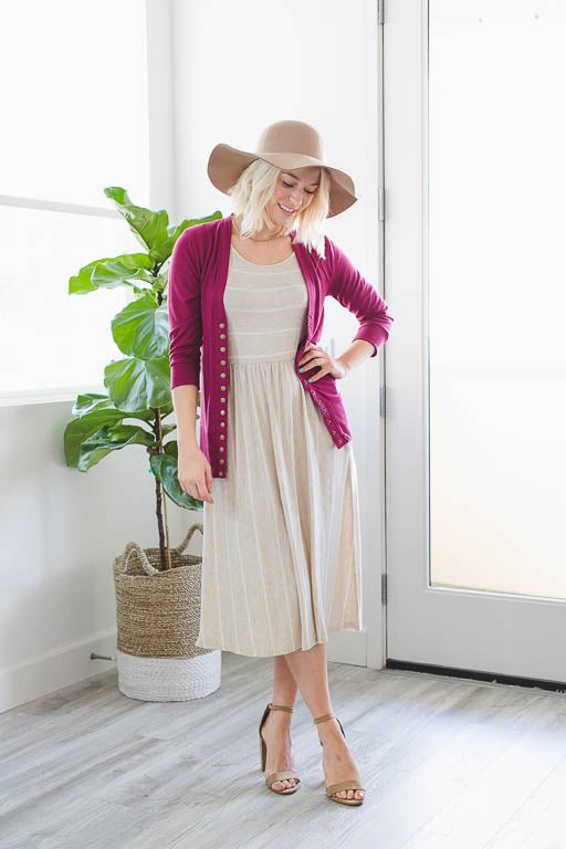 3/4 Sleeve Snap Button Cardigan in Burgundy