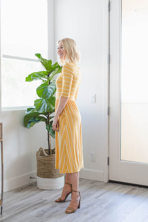 A Casual Day Striped Pocket Dress in Yellow