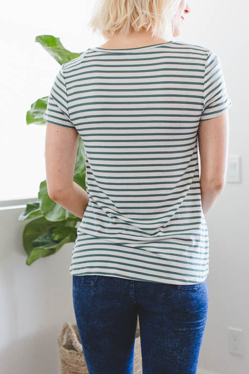 The V-Neck Striped Tee in Hunter Green