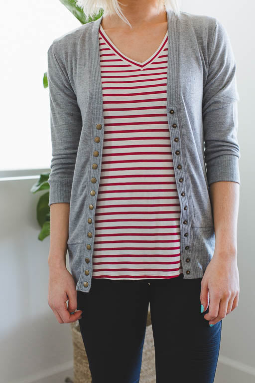 3/4 Sleeve Snap Button Cardigan in Heather Grey