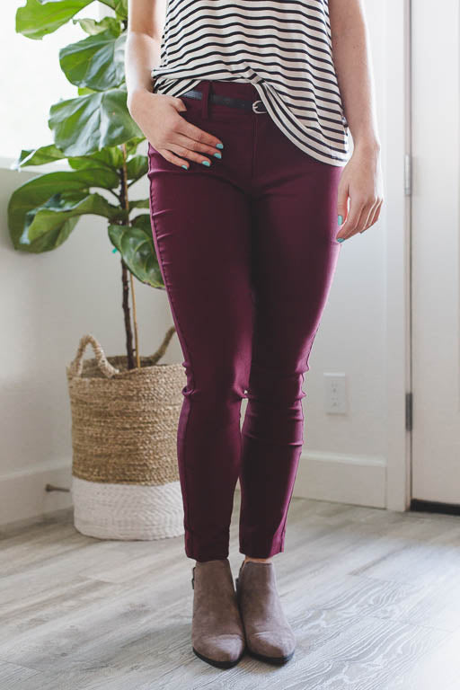Making Moves Pants in Burgundy