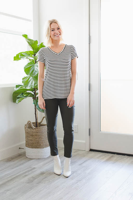 The V-Neck Striped Tee in White