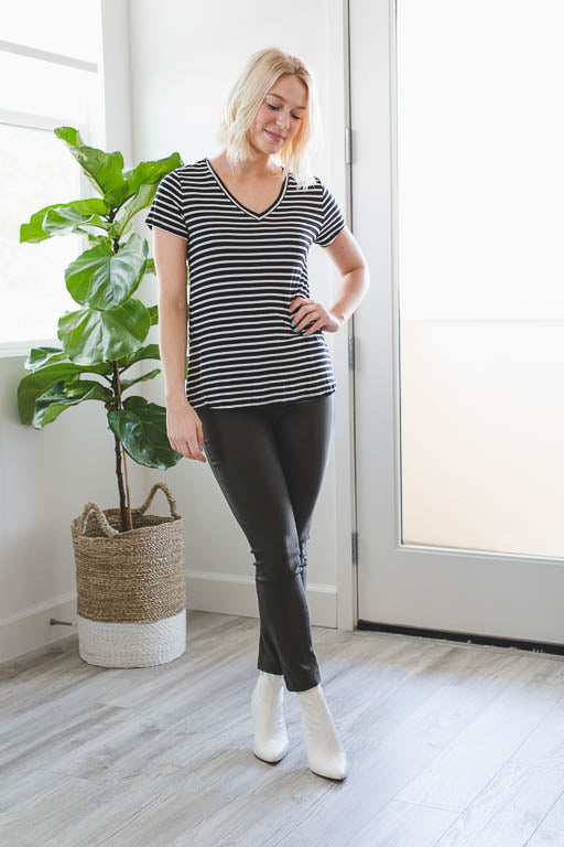 The V-Neck Striped Tee in Black