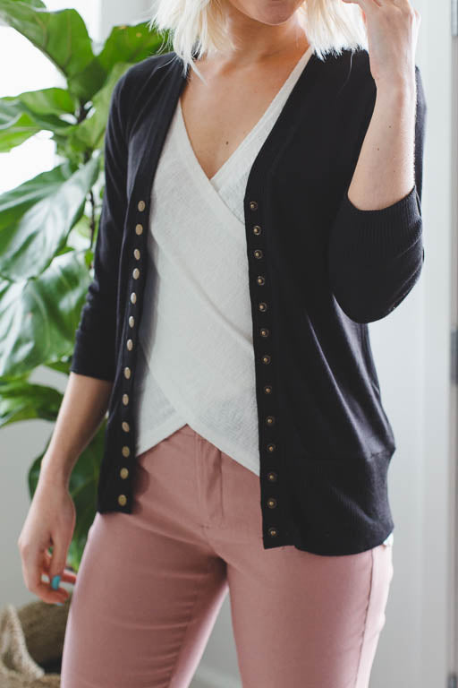 3/4 Sleeve Snap Button Cardigan in Black