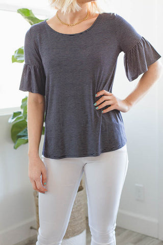 The V-Neck Striped Tee in Apricot
