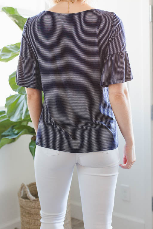 Fluttered Love Tee in Black Pinstripes
