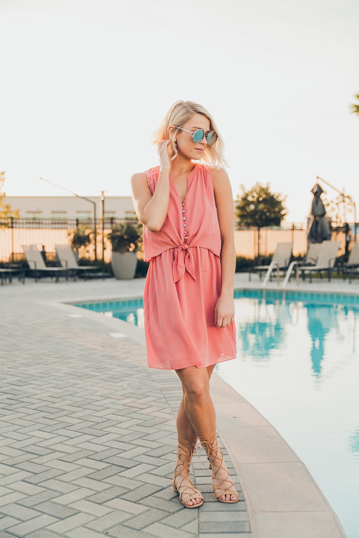 Everly: Garden Party Dress in Coral