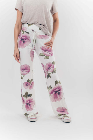 Get Loungy Floral Pants in Purple