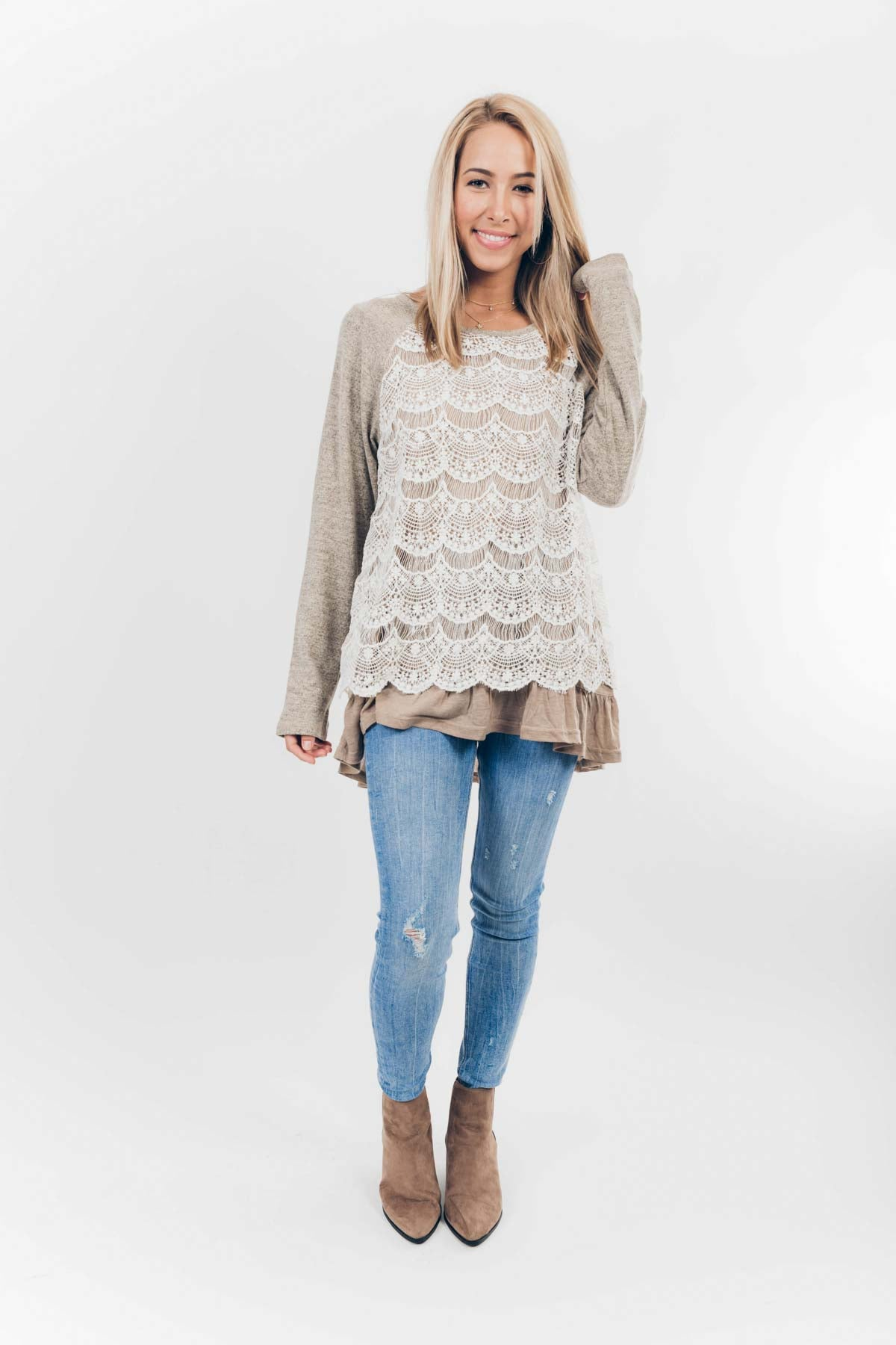 Chilly but Frilly Sweater in Mocha