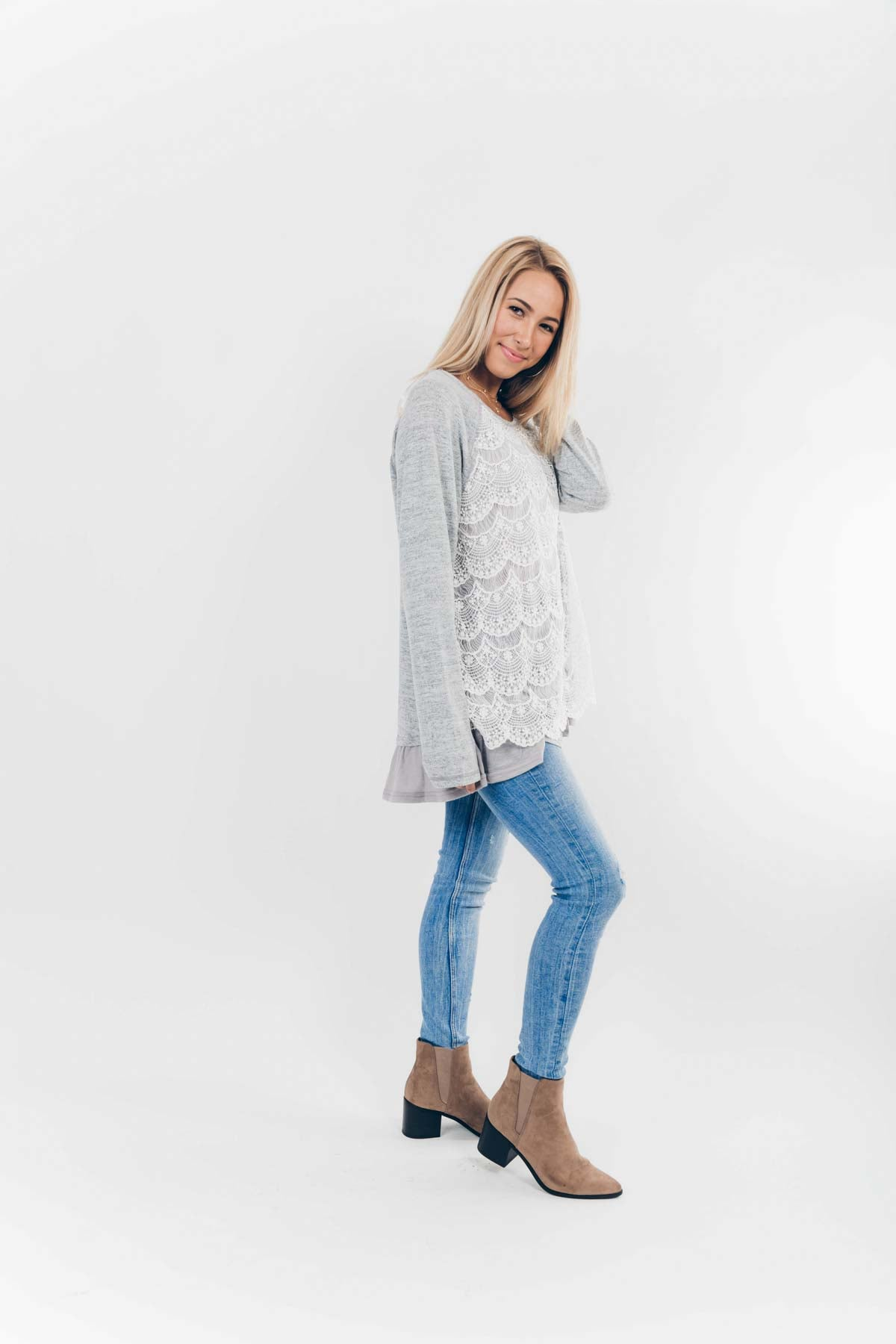Chilly but Frilly Sweater in Heather Grey