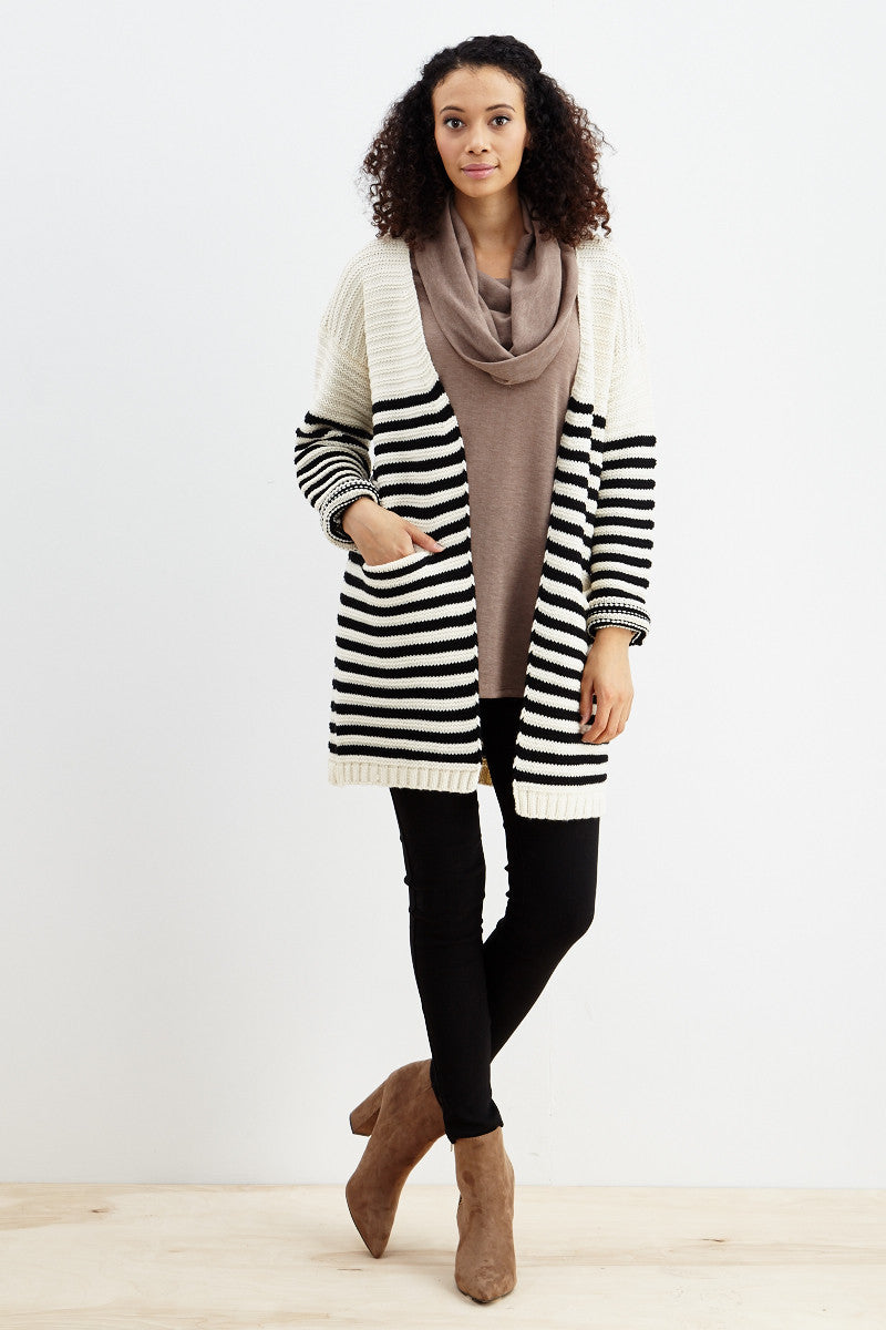 Fundamental Stripes Cardigan in Black - Good Row Clothing  - 7