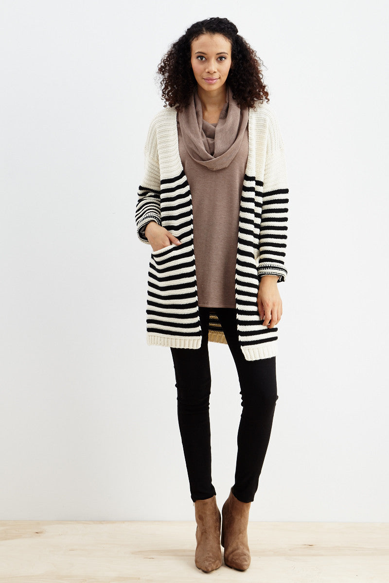 Fundamental Stripes Cardigan in Black - Good Row Clothing  - 6