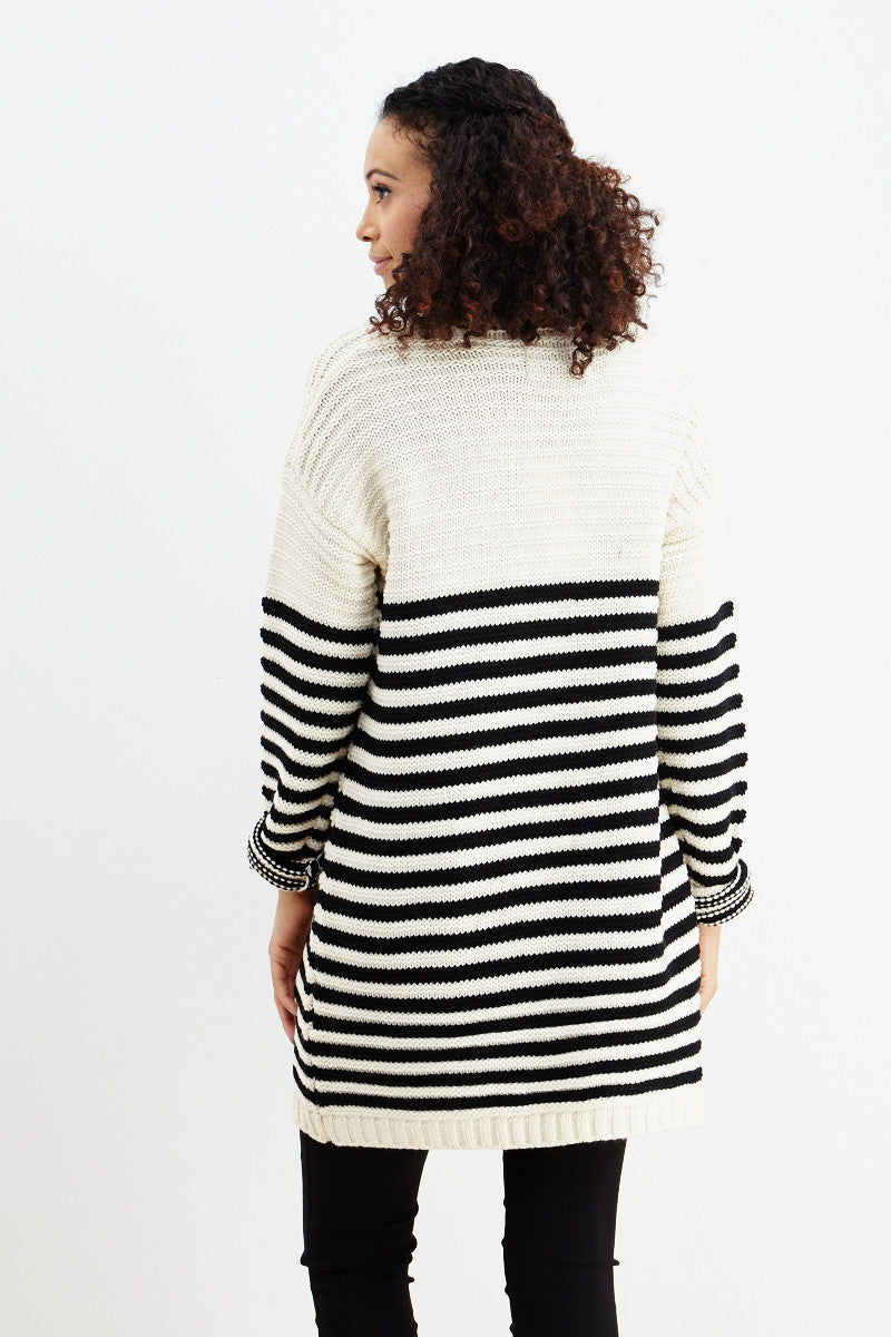 Fundamental Stripes Cardigan in Black - Good Row Clothing  - 4