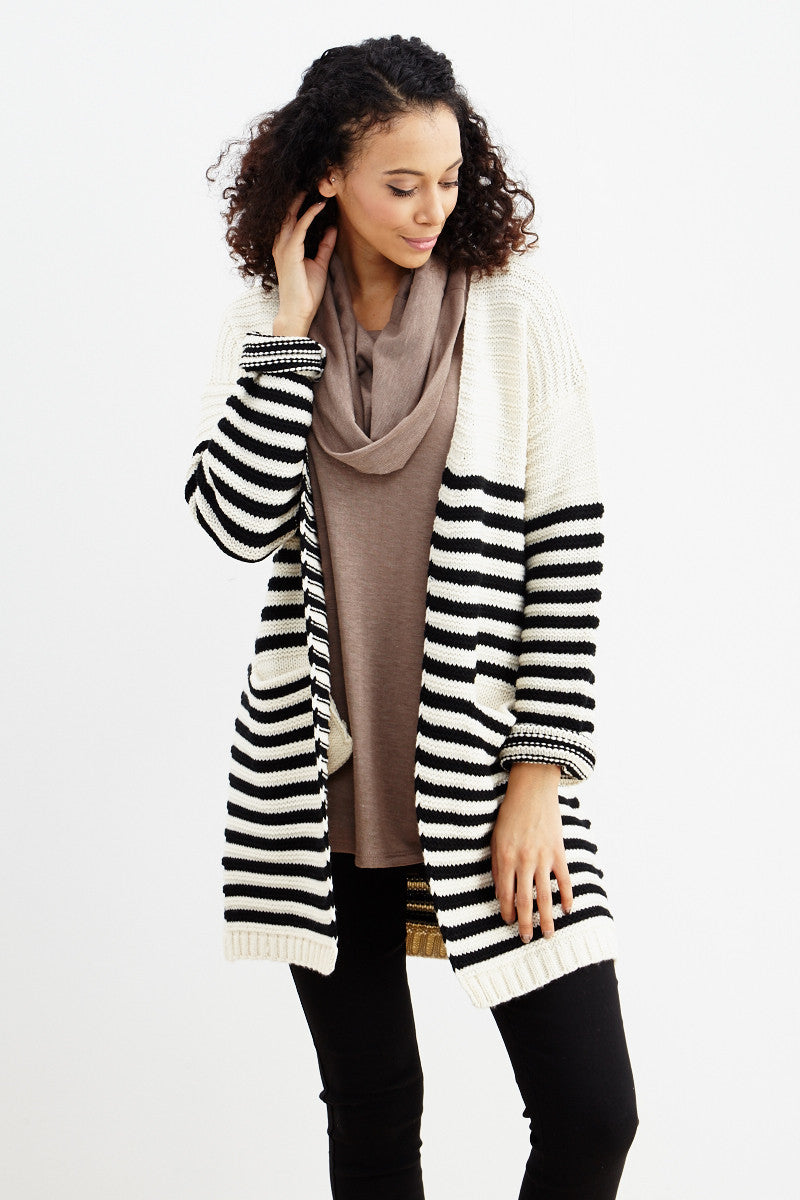 Fundamental Stripes Cardigan in Black - Good Row Clothing  - 2