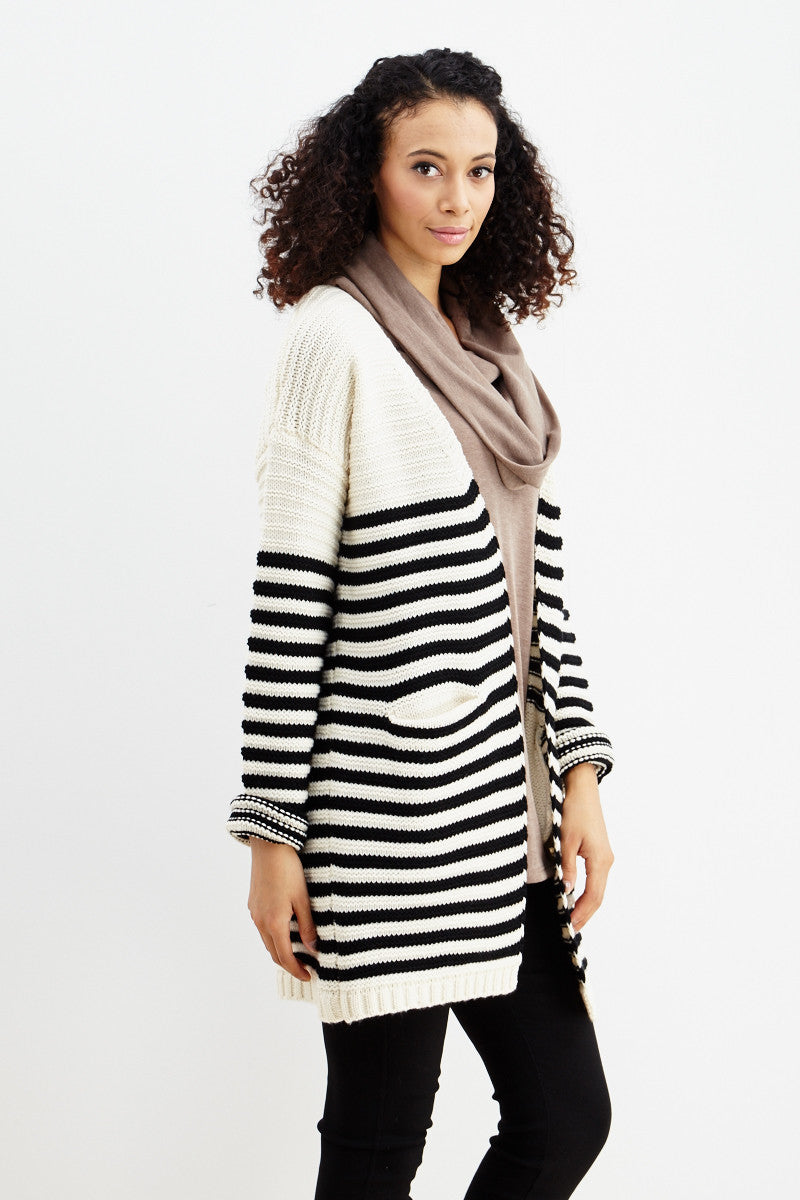 Fundamental Stripes Cardigan in Black - Good Row Clothing  - 3