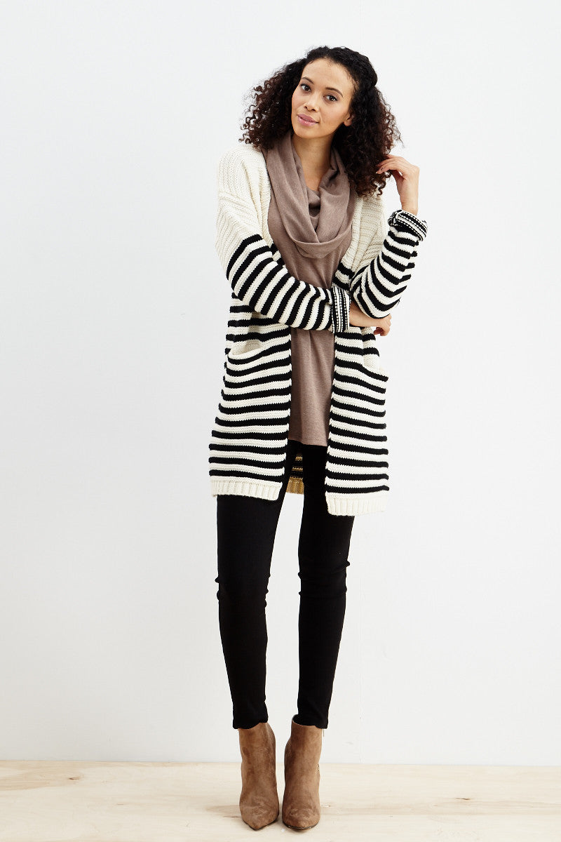 Fundamental Stripes Cardigan in Black - Good Row Clothing  - 1