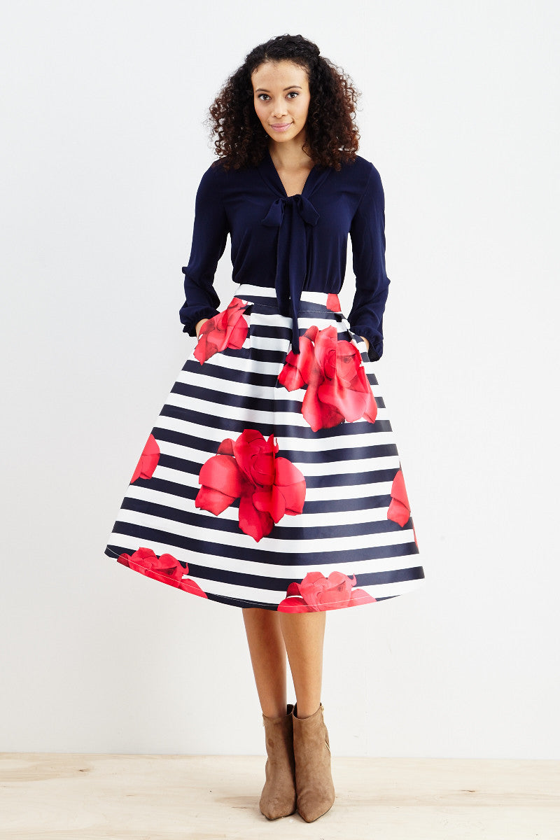 Striped Petunia A-Line Skirt! - Good Row Clothing  - 3