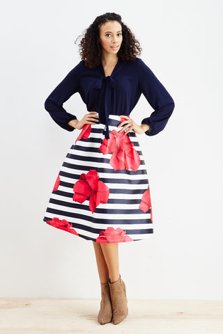 Striped Petunia A-Line Skirt! - Good Row Clothing  - 1