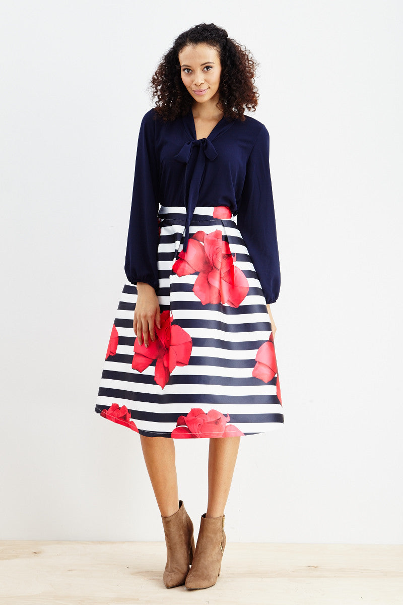 Striped Petunia A-Line Skirt! - Good Row Clothing  - 5