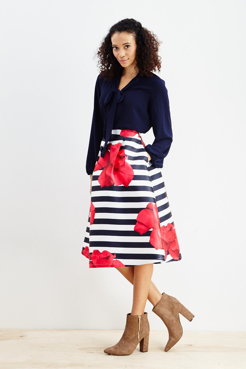 Striped Petunia A-Line Skirt! - Good Row Clothing  - 2