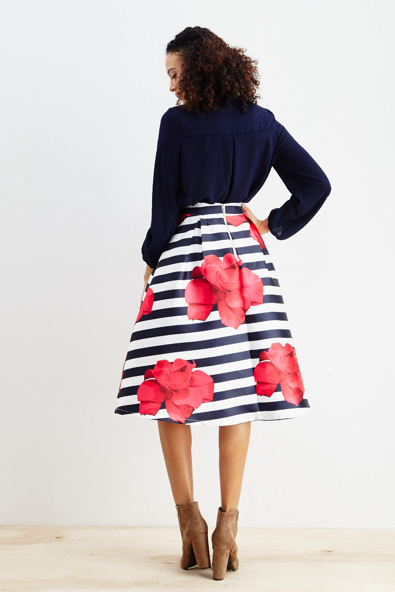 Striped Petunia A-Line Skirt! - Good Row Clothing  - 6