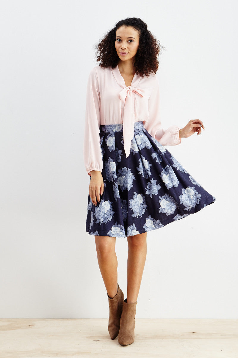 Le Lis: Ebb & Flow Floral Pleated Skirt in Blue - Good Row Clothing  - 8