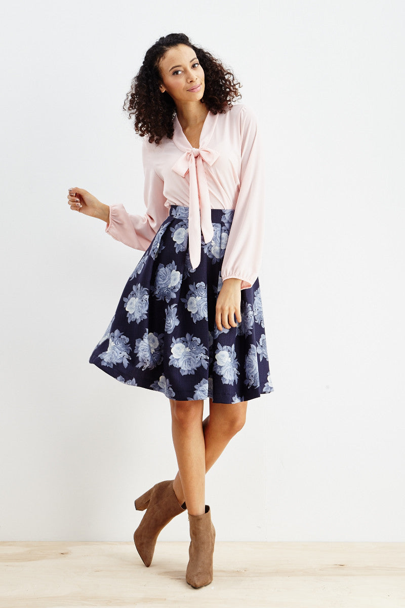 Le Lis: Ebb & Flow Floral Pleated Skirt in Blue - Good Row Clothing  - 7