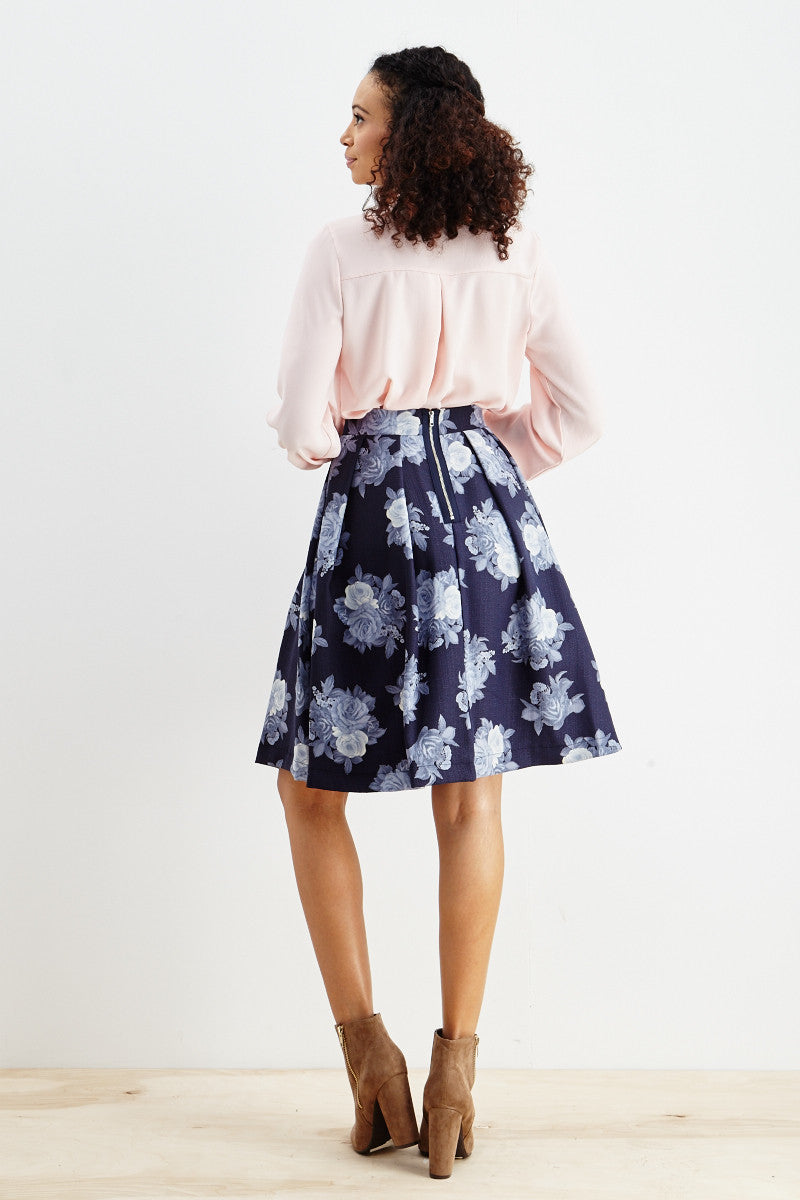 Le Lis: Ebb & Flow Floral Pleated Skirt in Blue - Good Row Clothing  - 3