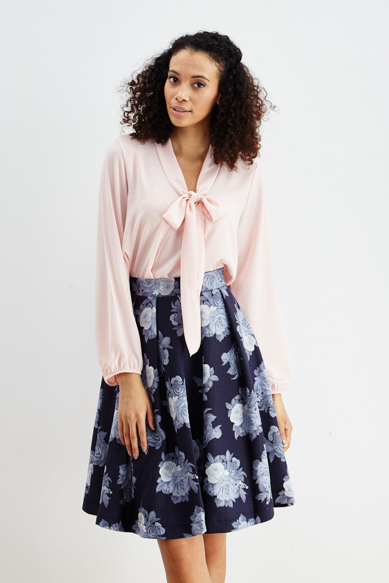 Le Lis: Ebb & Flow Floral Pleated Skirt in Blue - Good Row Clothing  - 2