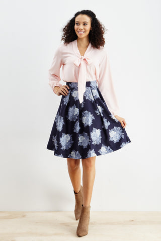 Le Lis: Ebb & Flow Floral Pleated Skirt in Blue - Good Row Clothing  - 1