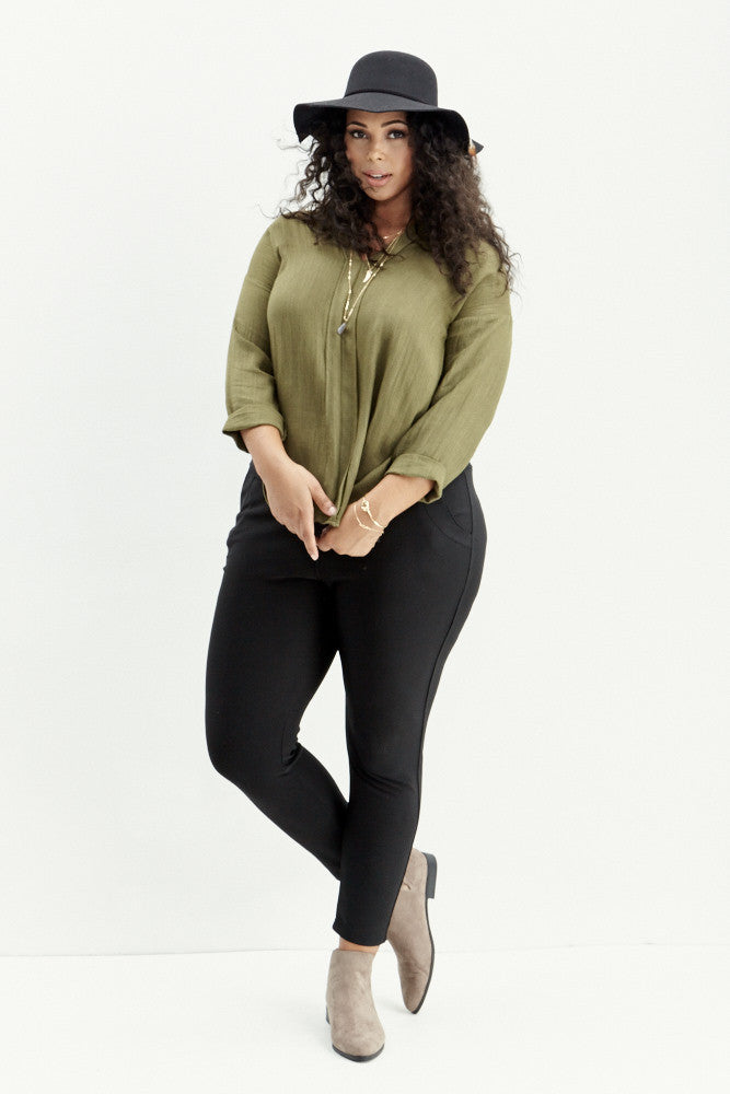 A.N.S: Classic Placket Top in Olive - Good Row Clothing  - 2
