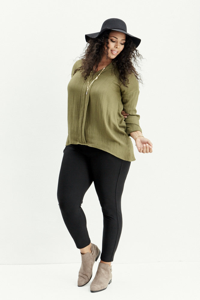 A.N.S: Classic Placket Top in Olive - Good Row Clothing  - 4