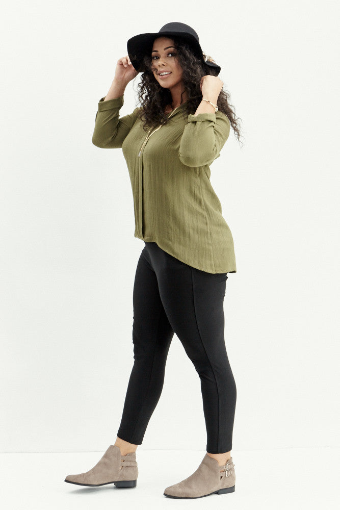 A.N.S: Classic Placket Top in Olive - Good Row Clothing  - 6