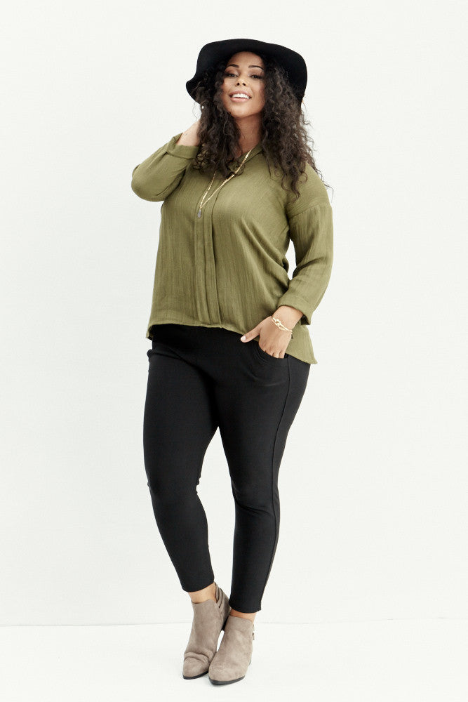 A.N.S: Classic Placket Top in Olive - Good Row Clothing  - 1