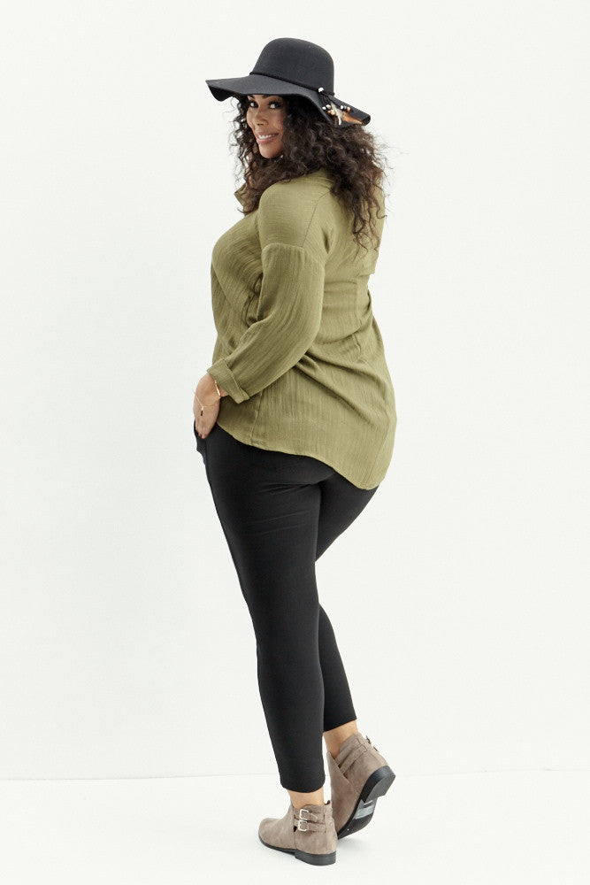 A.N.S: Classic Placket Top in Olive - Good Row Clothing  - 7