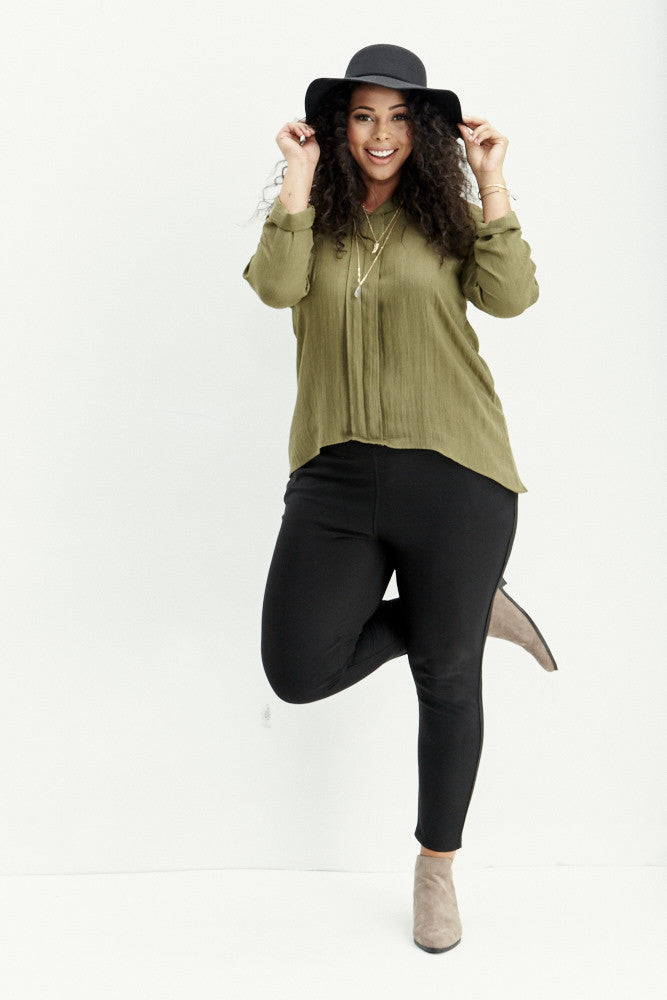 A.N.S: Classic Placket Top in Olive - Good Row Clothing  - 8