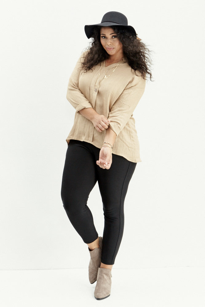A.N.S: Classic Placket Top in Taupe - Good Row Clothing  - 2