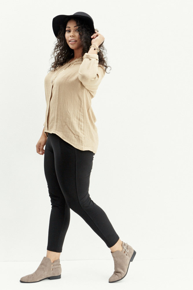 A.N.S: Classic Placket Top in Taupe - Good Row Clothing  - 4