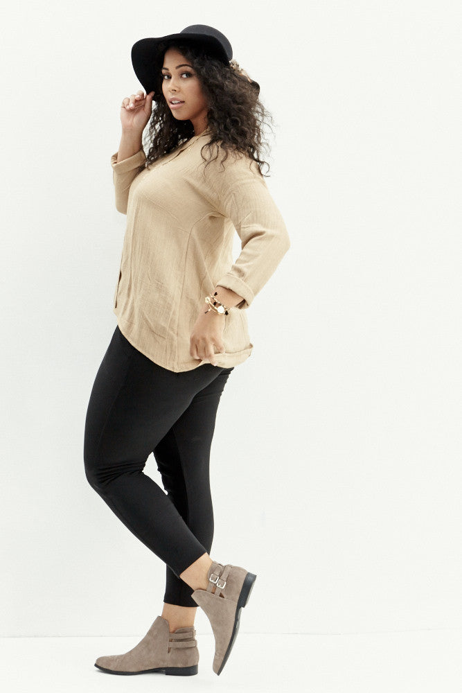 A.N.S: Classic Placket Top in Taupe - Good Row Clothing  - 6
