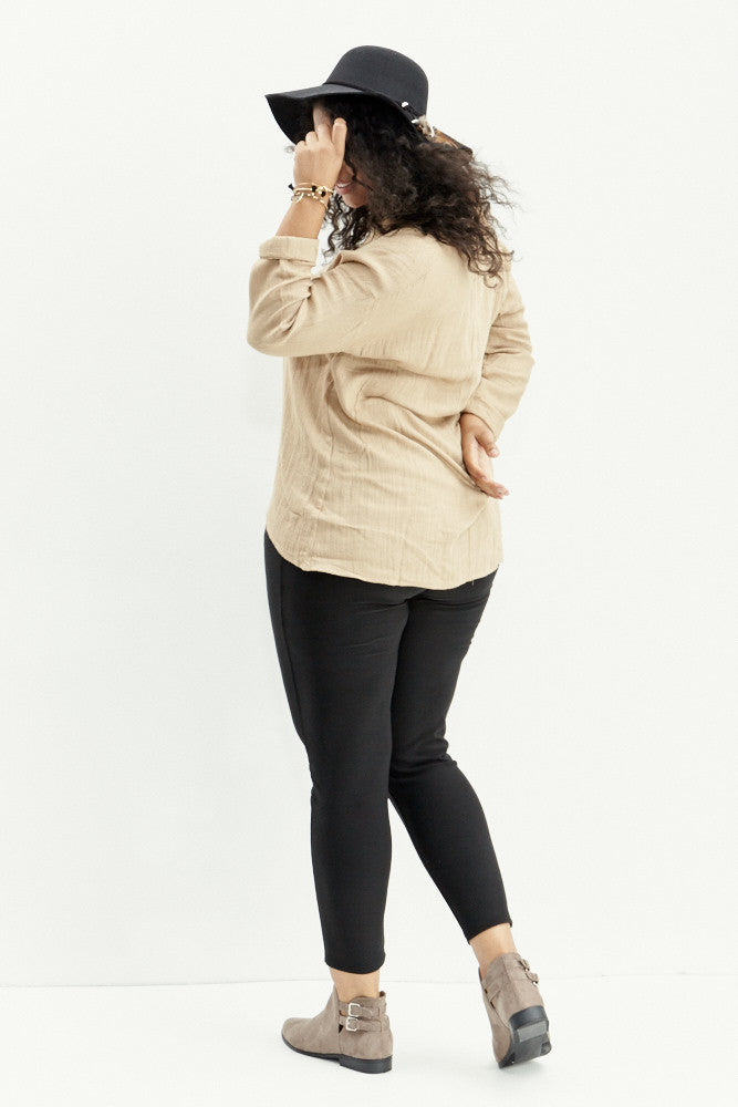 A.N.S: Classic Placket Top in Taupe - Good Row Clothing  - 8