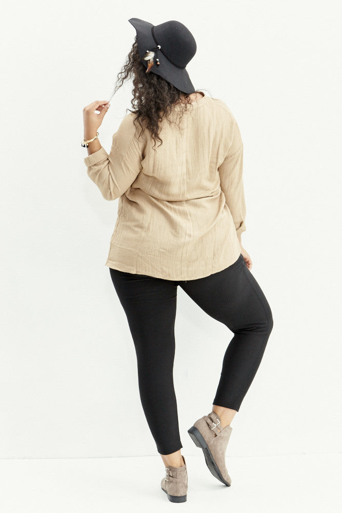 A.N.S: Classic Placket Top in Taupe - Good Row Clothing  - 7