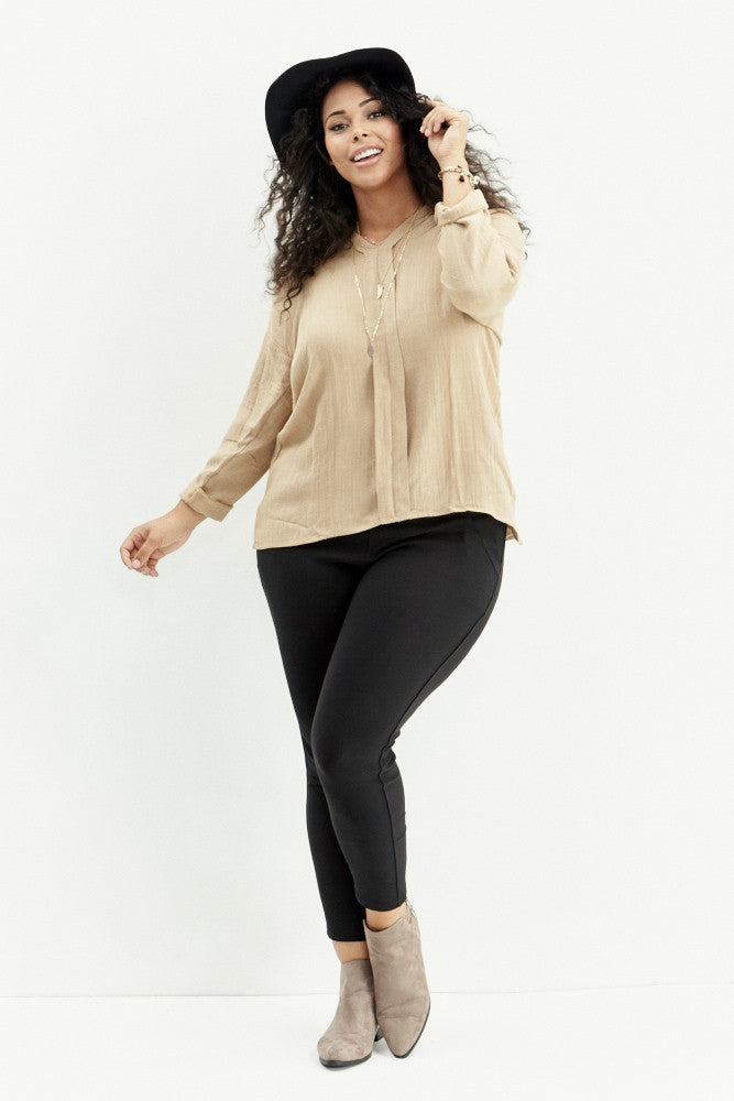 A.N.S: Classic Placket Top in Taupe - Good Row Clothing  - 1