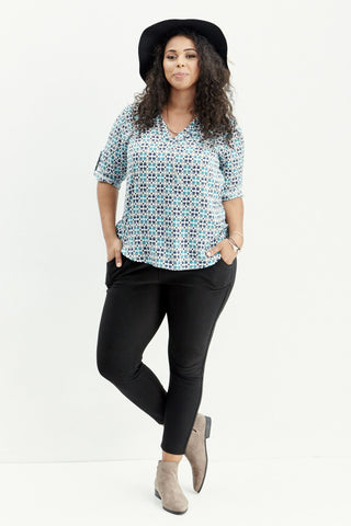 LARA: Houndstooth Roll Tab Blouse - Good Row Clothing  - 1