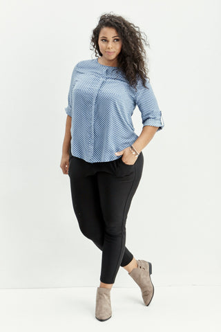 LARA: Polka Dot Dreams Top in Blue - Good Row Clothing  - 1