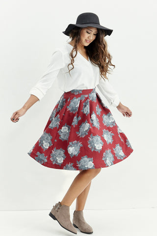 Le Lis: Ebb & Flow Floral Pleated Skirt - Good Row Clothing  - 1