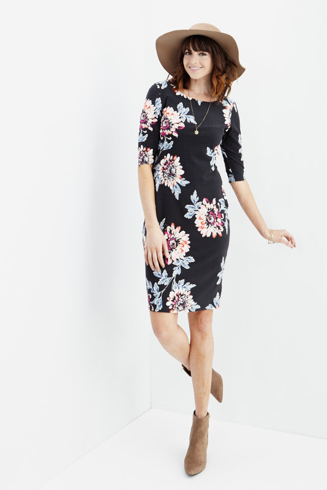 LARA: Carly Floral Midi Dress in Black - Good Row Clothing  - 6