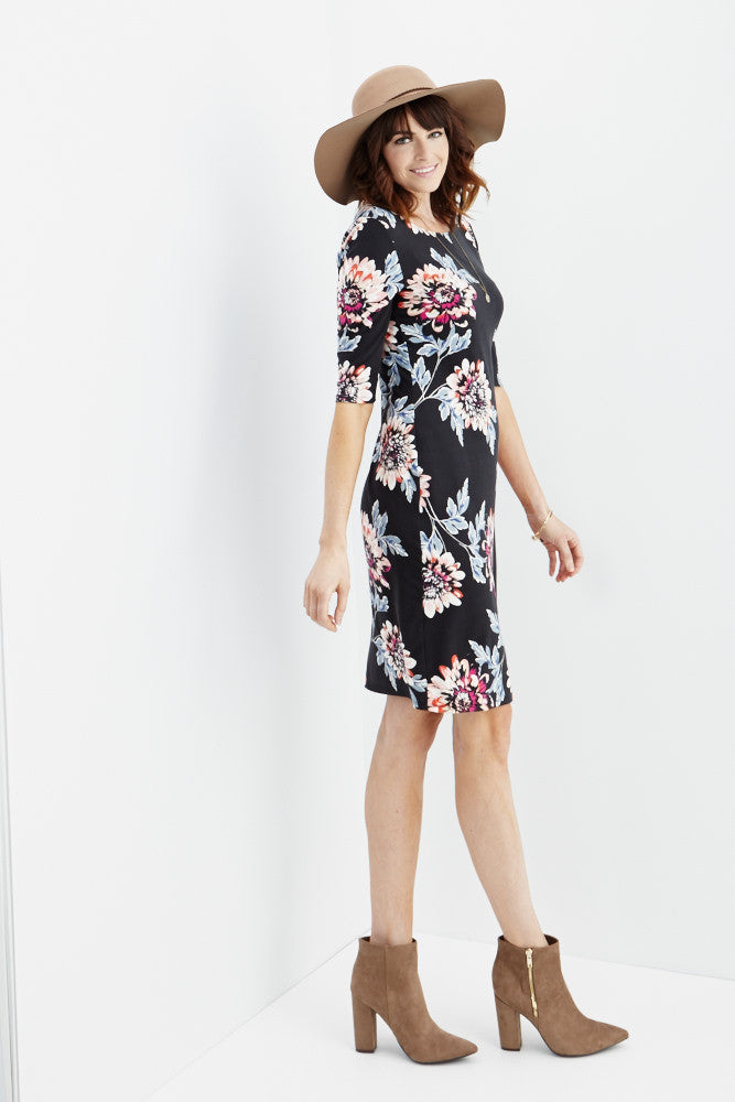 LARA: Carly Floral Midi Dress in Black - Good Row Clothing  - 5