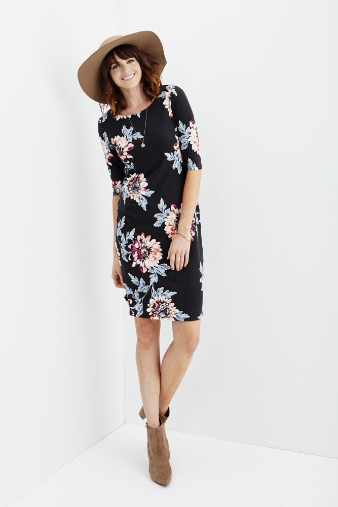 LARA: Carly Floral Midi Dress in Black - Good Row Clothing  - 3